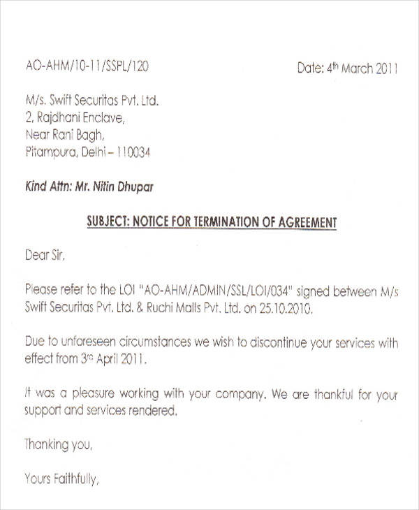 Termination Letter  Best Solutions Of Termination Letter Sample