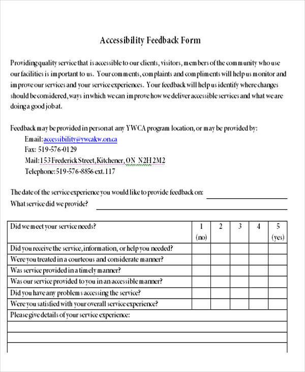 Service Feedback Form Aoda Customer Feedback Form The Four Villages - service form in word
