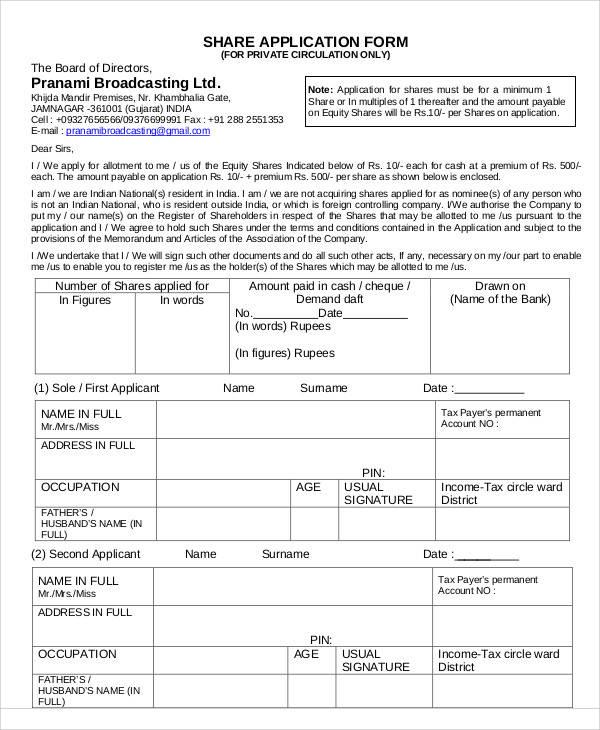 Application Form Formats