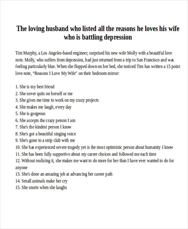 Love Letter Examples - love letter to husband