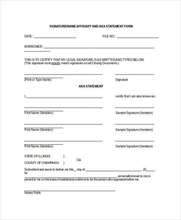 55+ Printable Statement Forms Sample Templates - general affidavit example