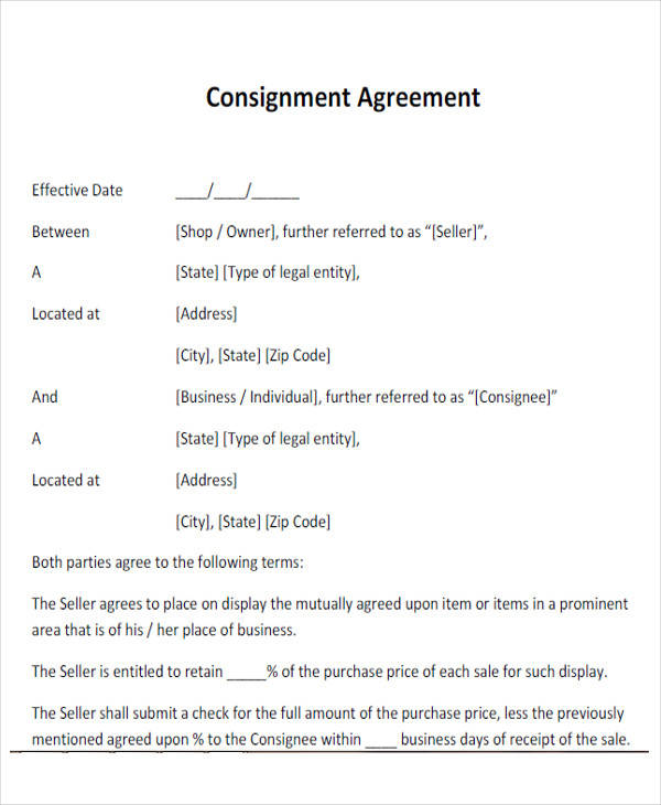 43+ Simple Agreement Forms Sample Templates - Consignment Agreement Template