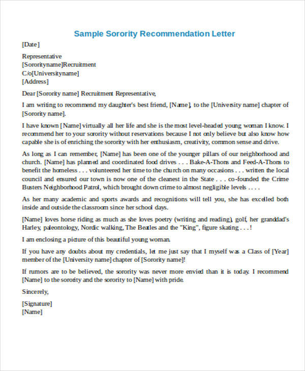 Sample Recommendation Request Letter - 7+ Examples in Word, PDF - sorority recommendation letter sample