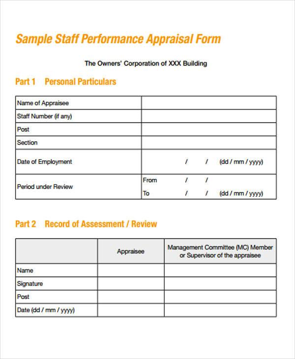 40+ Simple Appraisal Forms Sample Templates - simple appraisal form