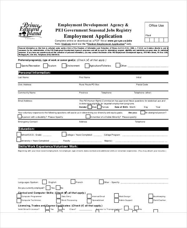 57+ Application Form Formats Sample Templates - employee application forms