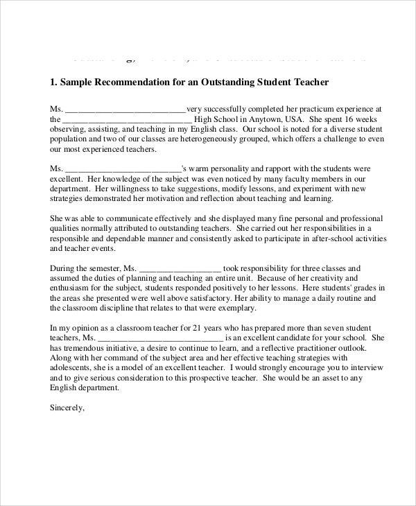 Recommendation letter from a teacher for an international student