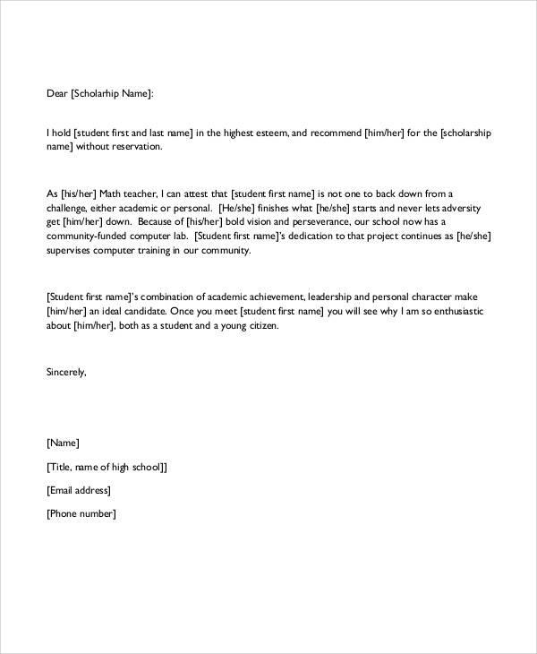 scholarship recommendation letter pdf