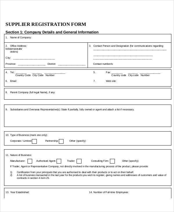 Registration Forms in PDF