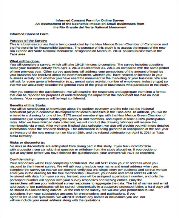 Informed Consent Form Informed Consent Patient Relations - research consent form template