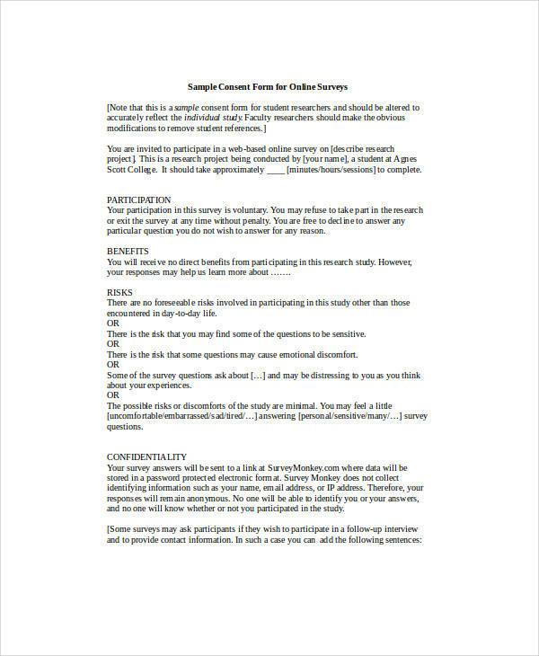 60+ Sample Survey Forms Sample Templates - survey consent form