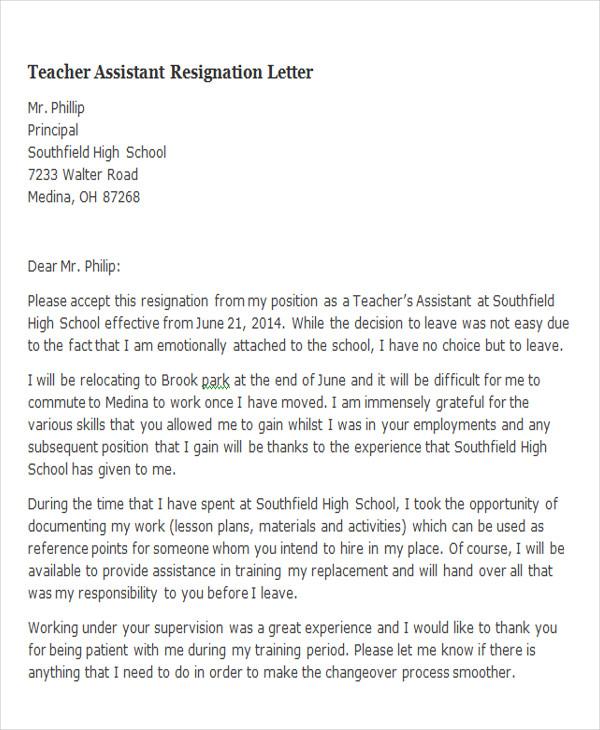 65+ Sample Resignation Letters Sample Templates