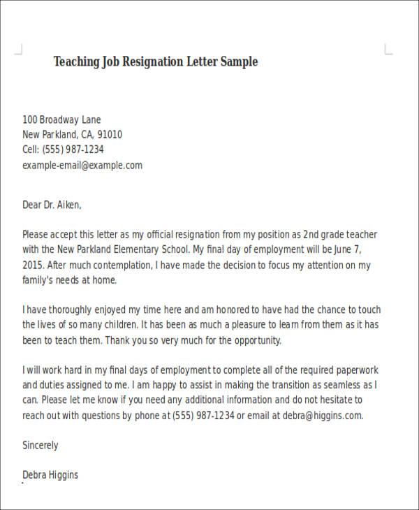 sample letter of resignation from teaching position