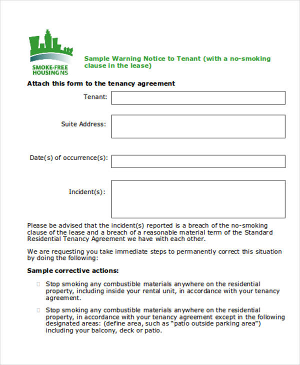 Warning Notice Template - parking agreement template