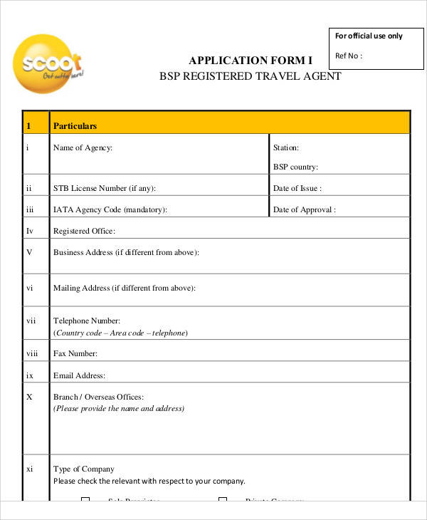 57+ Application Form Formats Sample Templates - travel agent form