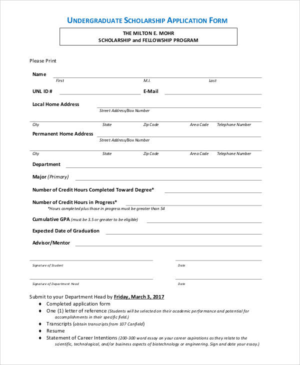 Scholarship application form College paper Service lxtermpapergqgh