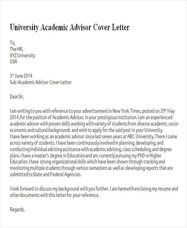 cover letter for admission in university