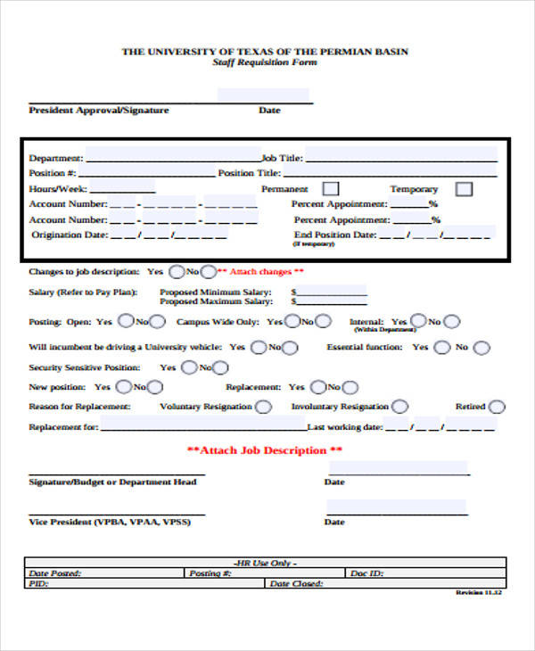 Requisition Form in PDF - employee requisition form