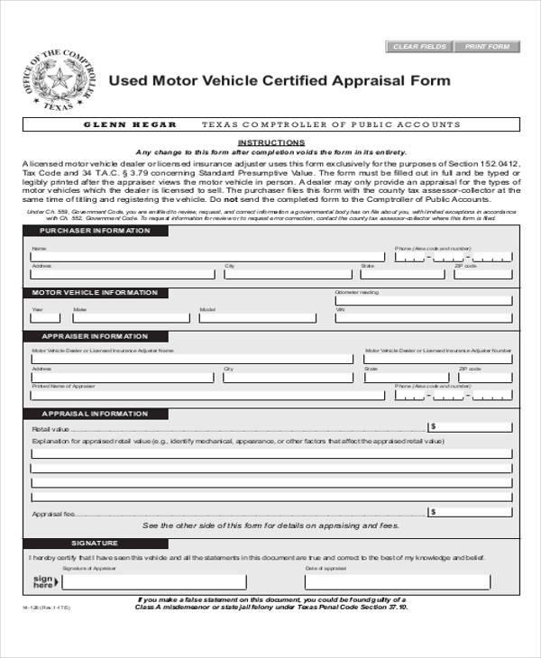 Vehicle Appraisal Form rmi021p used vehicle appraisal form