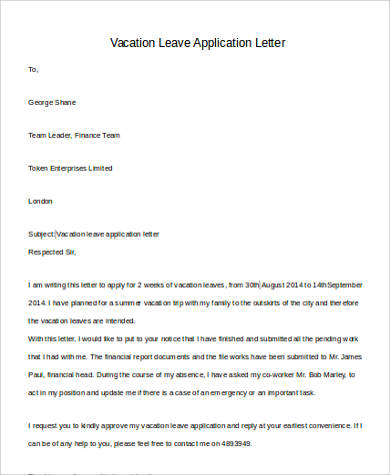 29+ Leave Letter Formats Sample Templates - Official Leave Application Format