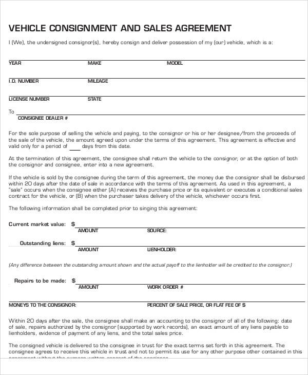 vehicle consignment form - Minimfagency