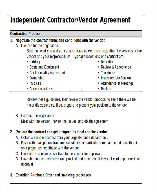 42+ Agreement Form Format Sample Templates - vendor contract agreement