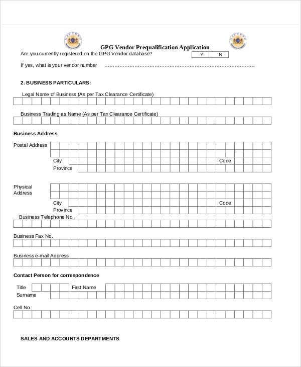 65+ Application Form Samples Sample Templates - vendor application form