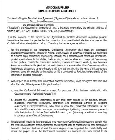 Confidentiality Agreement in PDF - vendor confidentiality agreement