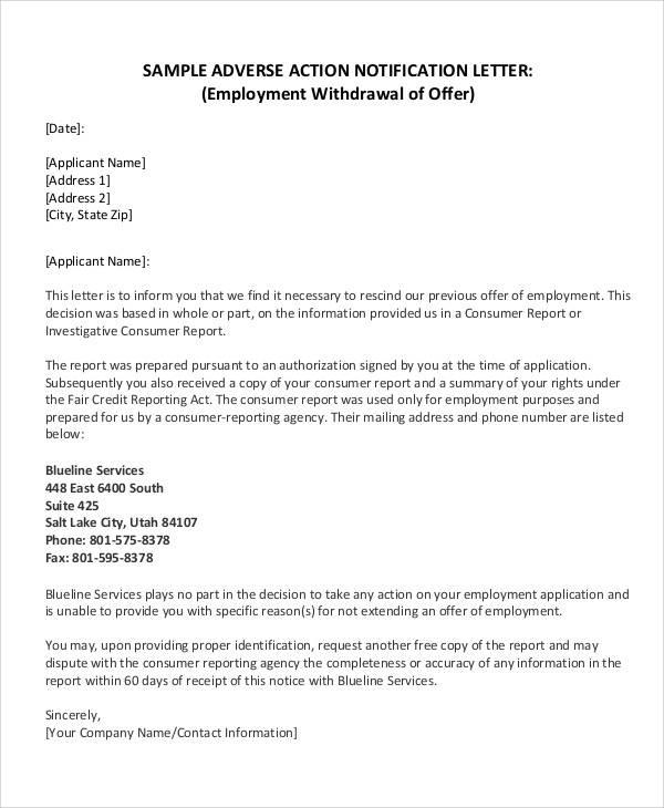 employer withdraw job offer letter sample