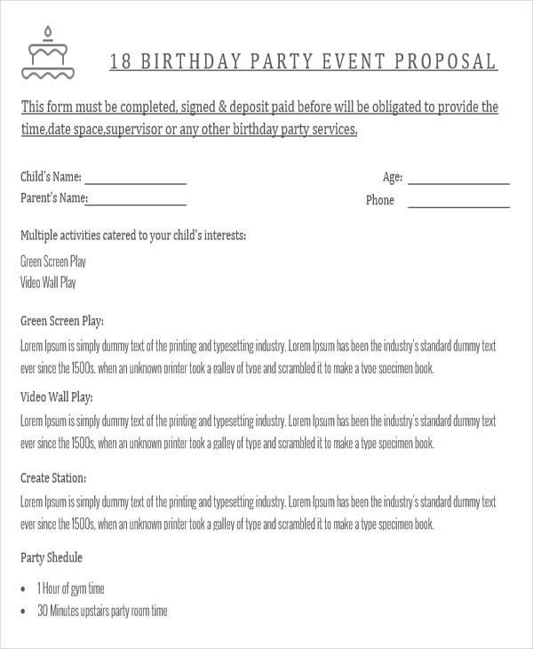 52+ Event Proposal Samples Sample Templates - party proposal
