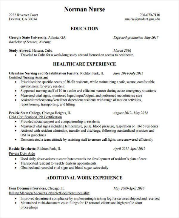 resume experience abroad