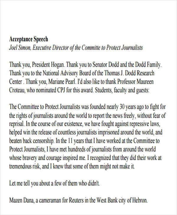 Award Acceptance Speech Outline Example - Plymouth Dome - acceptance speech example template