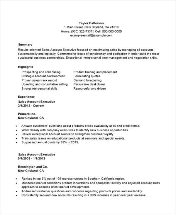 resume examples account executive