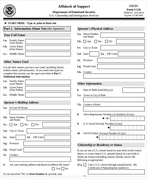 Affidavit Of Support Form Affidavit Of Support Form I-864 - affidavit of support