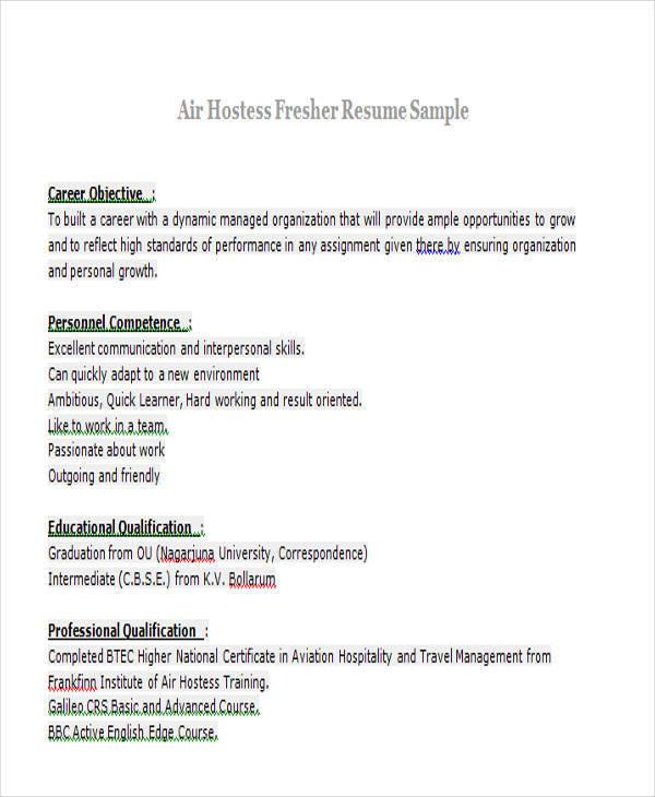 sample resume for air hostess fresher