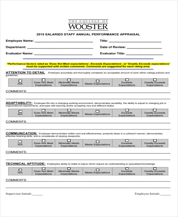 Doc404524 Sample Performance Appraisal Forms Performance – Sample Appraisal Form