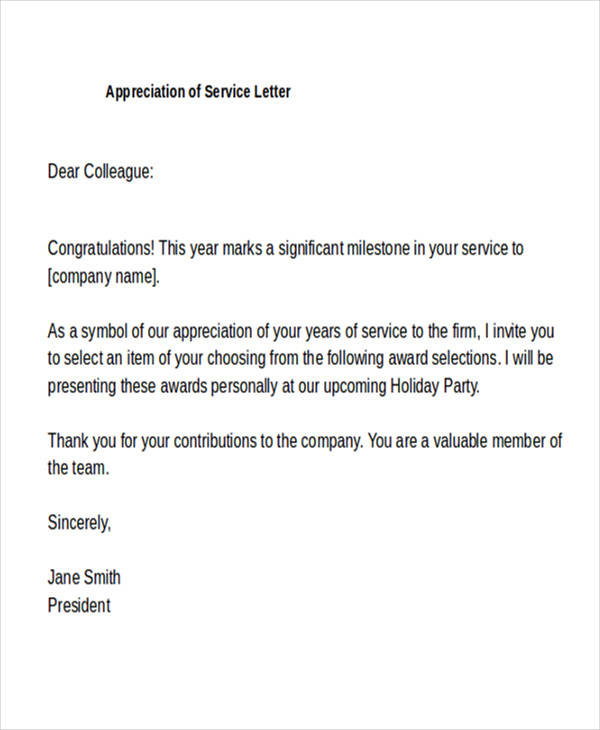 20+ Appreciation Letters in Doc Sample Templates - appreciation letter examples