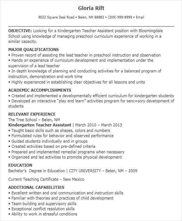 sample kindergarten teacher resume pre k teacher resume examples