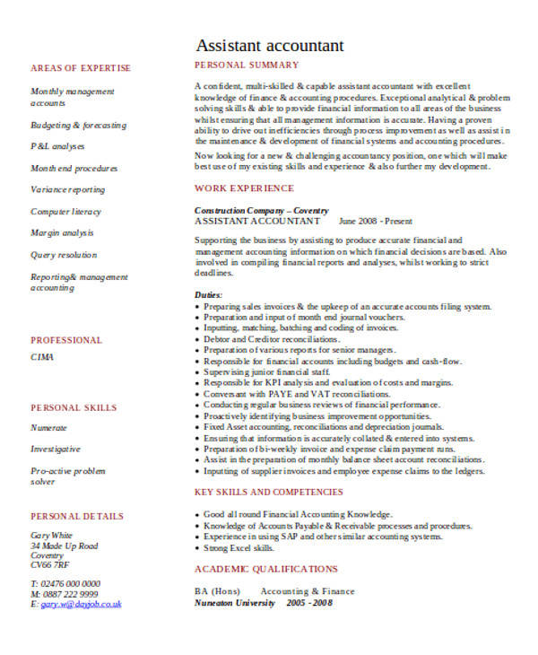 assistant management accountant cv