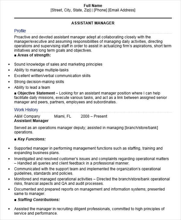 48+ Manager Resume Templates - assistant manager duties resume