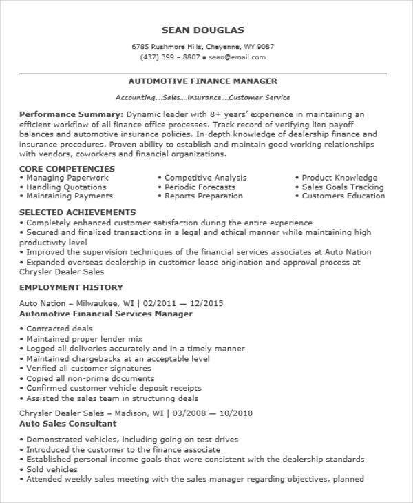 car sales resume examples job description vehicles autos auto finance manager resume - Car Salesperson Job Description
