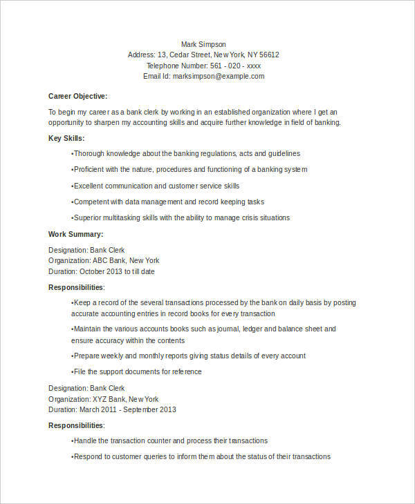 sample resume format for bank clerk interview