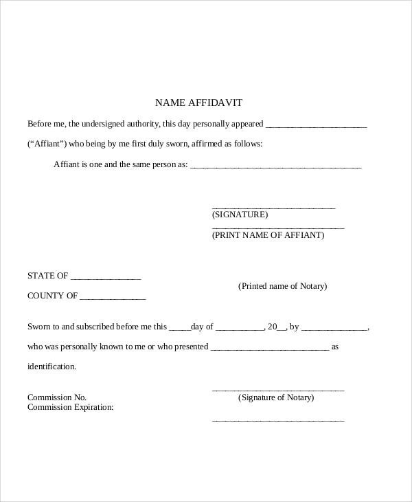 28+ Sample Affidavit Forms in PDF Sample Templates