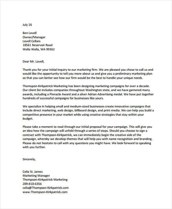 Marketing Proposal Letter Proposal Letter For Event Mystock Clerk