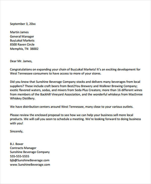 33+ Business Proposal Letters in PDF Sample Templates - a business proposal letter