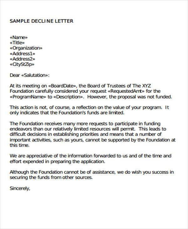 ... Investor Rejection Letter Samples Formal Bid Rejection Letter 27+   Proposal  Letter Samples ...