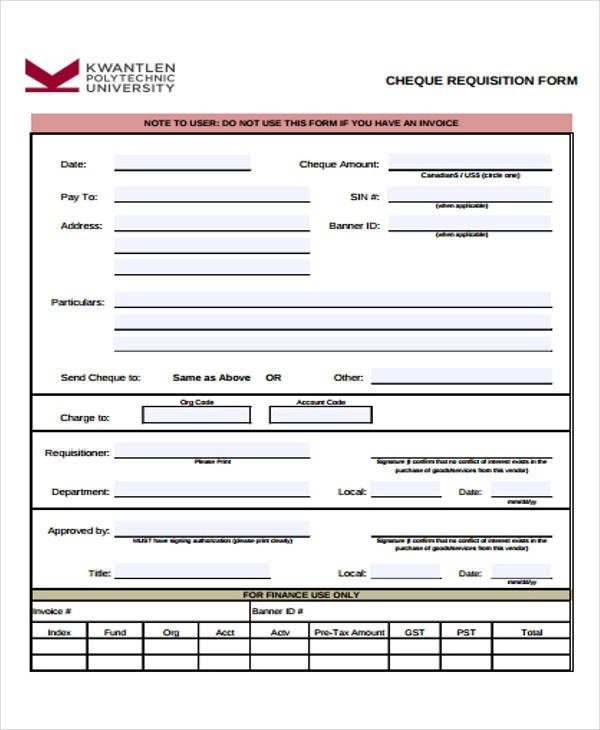 43 Free Requisition Forms - requisition form example