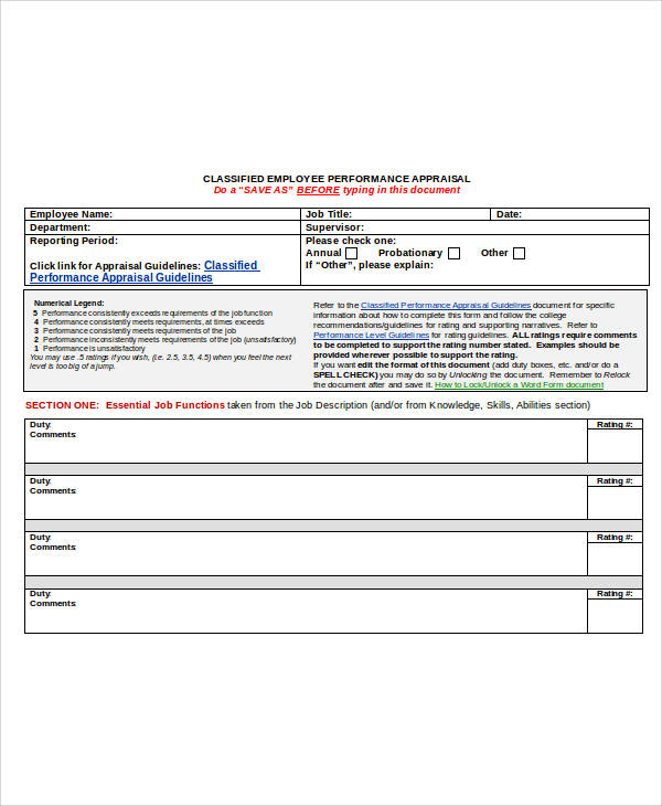 Performance Appraisal Form Format – Sample Appraisal Form