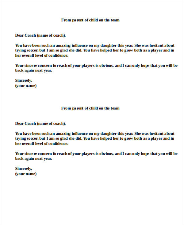 10+ Sample Coach Thank-You Letters Sample Templates - thank you letter to coach