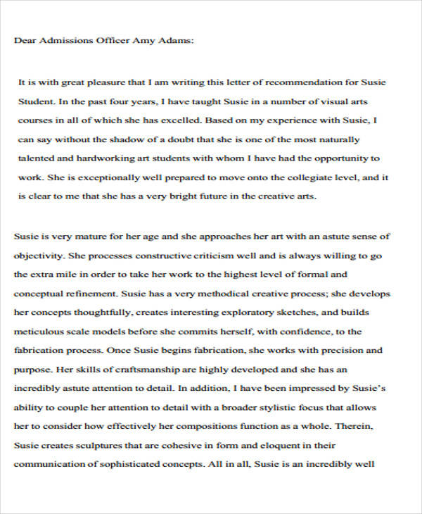 8+ College Recommendation Letter Sample - Free Sample, Example - example letter of recommendation