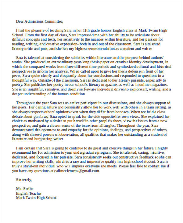 sample recommendation letter for college admission from teacher